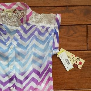 Speechless sheer Chevron top with attached cami